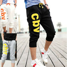 Mens Casual Haren Dance Sports Pants Shorts Cropped Loose Trousers Jogging Gym