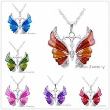 Vintage Women Charm Silver Rhinestone Crystal  Butterfly Necklace Pendant Gift