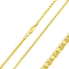Men 2mm 925 Sterling Silver Tube Brite Chain Necklace Gold Plated made in italy