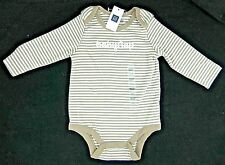 Baby Gap Boys Logo One Piece Bodysuit Taupe Ivory Striped Size 3-6 6-12 Month