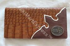 Faux Crocodile Leather WESTERN CHECKBOOK RODEO WALLET CAST CROSS CONCHO