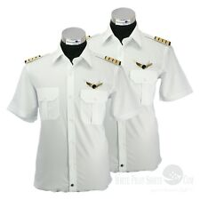 White Pilot Uniform Shirts High quality Aviator Security Short sleeves PACK OF 2
