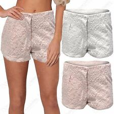 NEW WOMENS CROCHET MESH FLORAL PRINT SHORTS LADIES LACE HOT PANTS MID WAIST LOOK
