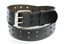 Leather Belt Unisex 2 Double Row Plain Holes Removable Roller Buckle
