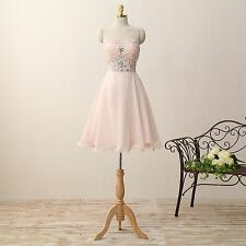 Pink Short Bridesmaid Party Dresses With Beading Sweetheart Empire Dresses E378