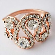 Very Nice Womens Rose Gold Filled Clear CZ Promise Love Band Ring Size 5-8