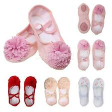New Girls Canvas Leather Ballet Dance Sole Yoga Shoes Pointe Flat Shoes Slippers