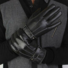 Warm Gloves Mens Unisex Thermal PU Leather Driving Arm Cashmere Vogue Lined
