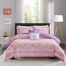 NEW Twin XL Full Queen Bed Pink Purple White Mosaic Medallion 5 pc Comforter Set
