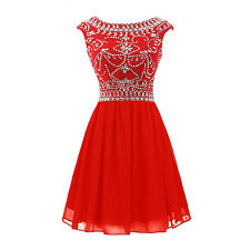 Short Chiffon Cocktail Dresses Scoop Cap Sleeve A-Line Homecoming Party W1652