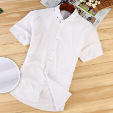 Mens Luxury Casual Formal Shirts Short Sleeve Slim Fit Business Shirt DP901