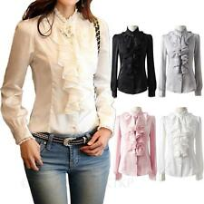 Satin Vintage Ruffle blouse Career Ladies Lace shirt Party Collar Top Size