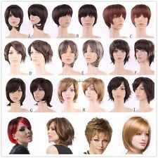Sexy Women Ladies Girls Full Wigs Short Synthetic Hair Curly Straight Daily Wig