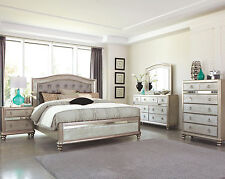 GLAM 4PC PLATINUM METALLIC TUFTED QUEEN KING BED NS DRESSER MIRROR BEDROOM SET