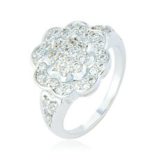 womens white gold filled Fashion clear sunflower crystal ring size 6 7 8 9