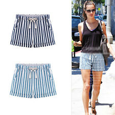 UK Women Blue Vertical Stripes Elastic Waist Strap Striped Shorts Casual Shorts