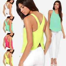 Fashion Womens Summer Vest Sleeveless Chiffon Blouse Crew Neck Casual Tank Tops