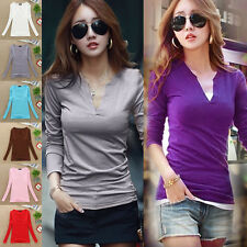 Hot Sale Womens Stylish Sexy V Neck Blouse Slim Bottoming Shirt Long Sleeve Tops