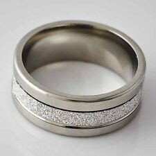 Sandy Unisex Mens silver Stainless Steel promise love Band Ring Size 8 9 10 11