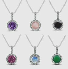 925 Solid Silver Pendant in Multiple Color options Natural Gemstone Fine Jewelry