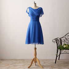 Royal Blue Short Bridesmaid Party Cocktail Dress Chiffon Beading Prom Gowns E610