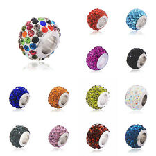 5Pcs Silver plated beads red teal crystal Fit European bracelet Free shipping lo