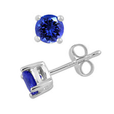 925 Sterling Pure Solid Silver Stud with Natural Tanzanite Round Cut Earring