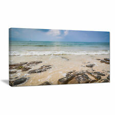 Design Art Rocks on Typical Tropical Beach Photographic Print on Wrapped Canvas