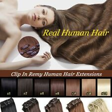 Salon TOP 100% Human Hair Clip In Remy Human Hair Extensions 8PCS 18CLIPS HQ299