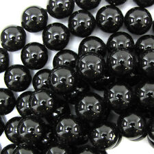 "Black Shell Pearl Round Beads Gemstone 16"" Strand 6mm 8mm 10mm 12mm 14mm 16mm"