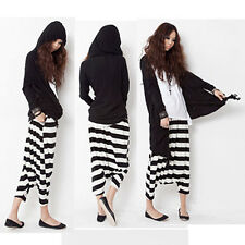 Women Punk Style Trousers Striped Casual Low Drop Crotch Baggy Loose Harem Pants