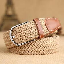 Men Tan Belt Stretch Unisex New Elastic Belt Braided Canvas Woven Leather Belt