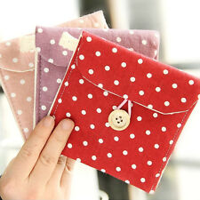 Girl Women Sanitary Napkin Towel Pads Polka Dot Small Purse Holder Organizer New