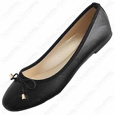 LADIES BLACK BOW DOLLY SHOES PU SLIP-ONS PUMPS WOMEN FLAT BALLERINA FAUX LEATHER
