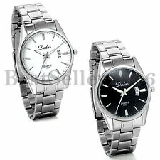 Classic Business Men's Stainless Steel Band Date Quartz  Wristwatch Watches Gift
