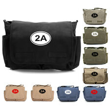 2A Gun Ammo Bullets Army Heavyweight Canvas Messenger Shoulder Bag