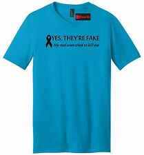 Yes They're Fake Real Tried Kill Me Breast Cancer Awareness Mens V-Neck T Shirt