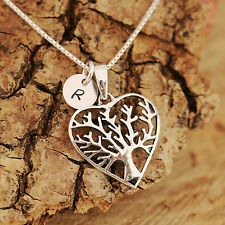 Sterling Silver Personalised Tree Of Life Heart Pendant Necklace & Initial Tag