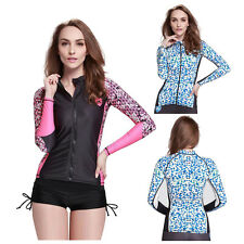Women Swimwear Long Sleeve Full Zip Rash guards Sun Shirts UV Surf Swim Top