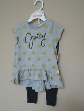 $68+ NWT Juicy Couture Girls' 2 PC Legging Set. Gray/Navy/Gold.Size: 2T