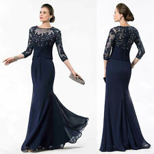 Pageant Formal Evening Half Sleeve Applique Lace Mother of The Bride Dress W1713