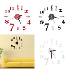 1X Modern Art DIY Large Wall Clock 3D Sticker Design Home Office Room Decor MN