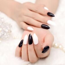 24 PCS Glossy Concise Art Fake Nails French Black White Pointed Designed