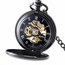 Vintage Skeleton Mechanical Pocket Pendant Watch Black Gift Steampunk Retro New