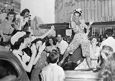 Art Print Poster / Canvas Carmen Miranda Dancing on Back Seat of Car