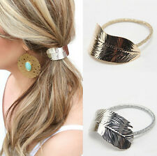 Accessories 2Pcs Lady Headband Leaf Hair Band Elastic Rope Holder Women Ponytail