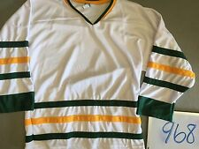 BLANK WHITE Classic 3 Stripe Gold Green Mens Youth Team Pond Hockey Jersey 968