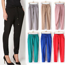 Elegant Women's Girls Fashion Casual Chiffon Harem Elastic Waist Trousers Pants