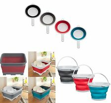 Collapsible Washing Up Bowl Colander Bucket Ideal For Camping, Caravan Home New