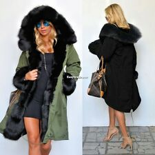 Women's Warm Winter Faux Fur Hooded Parka Coat Overcoat Long Jacket Outwear ESY1